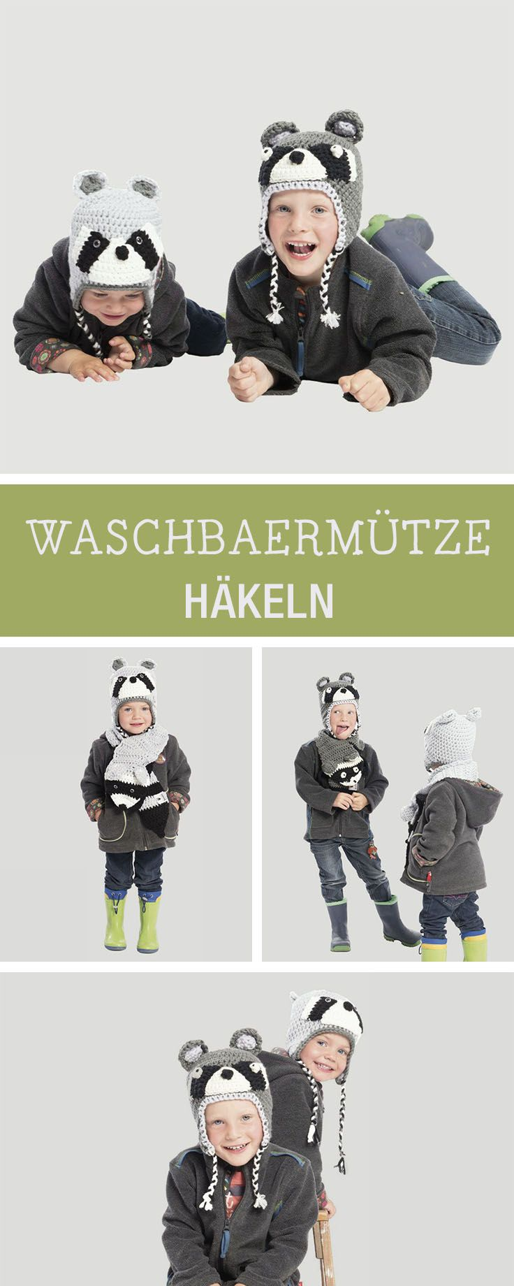 Mütze für Kinder häkeln mit Waschbär-Gesicht / crocheted head for children with little raccoon face via DaWanda.com