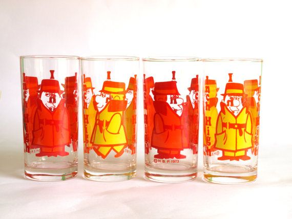 Vintage Rare Inch High Private Eye Hanna Barbera Cartoon Glasses or Tumblers - Set of Four - Collectible Set of 1973 Cartoon Character
