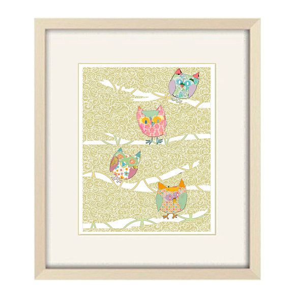 GIRLS Kids Owl Wall Decor Owl baby nursery art by OzscapeDesigns, $19.50