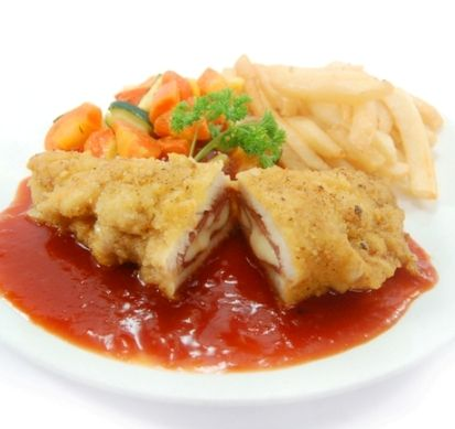 FISH CORDON BLEU. Breaded red snapper stuffed with mozzarella & smoked beef, served with regular vegetables & french fries, in smoky BBQ sauce