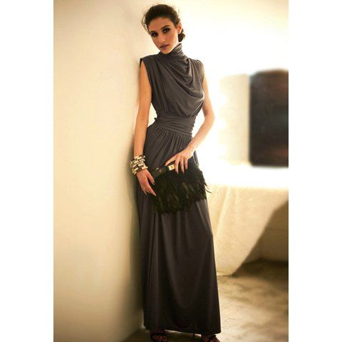 Elegance Elastic Waist Ruffle Stand Collar Sleeveless Women's Evening Dress, DEEP GRAY, ONE SIZE in Maxi Dresses | DressLily.com