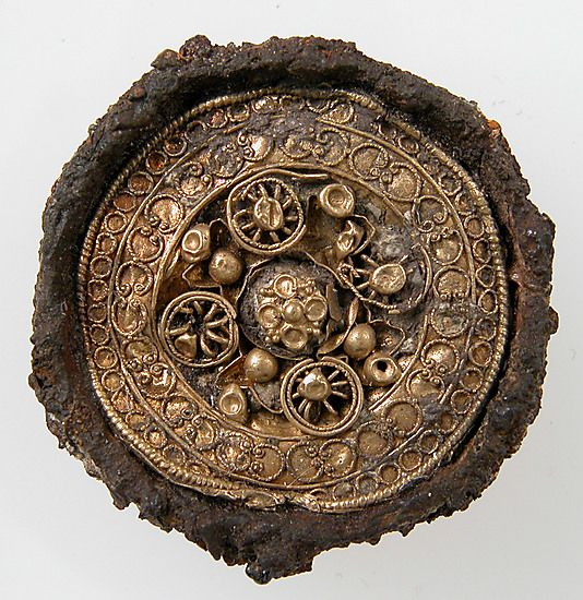 Disk Brooch  Date: 6th century Culture: Frankish (?) Medium: Gold, wire, iron core
