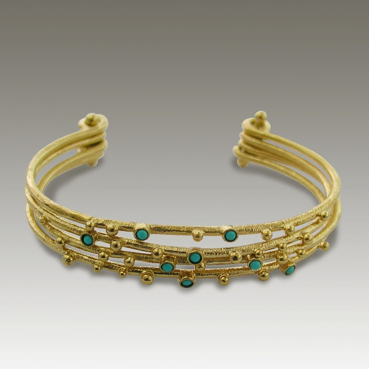 24k gold plated cuff with turquoise stones - Honey Blues.. $188.00, via Etsy.