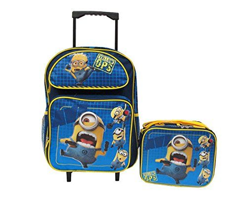 Despicable Me 2 Minions Large 16 Rolling Backpack Roller School Bag & Lunch Box @ niftywarehouse.com #NiftyWarehouse #DespicableMe #Movie #Minions #Movies #Minion #Animated #Kids