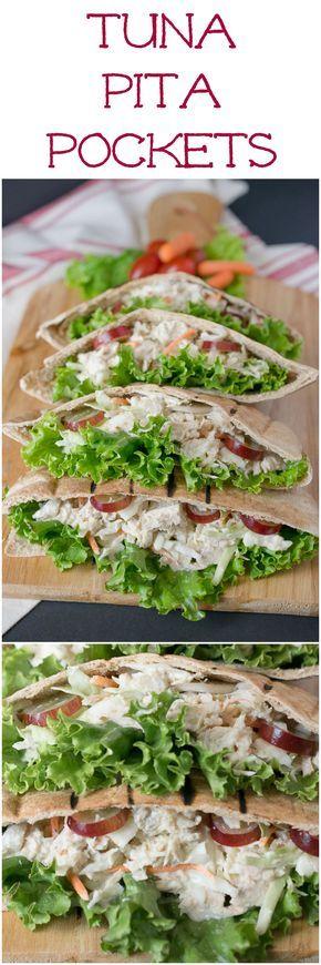 Tuna pita pockets.Tuna salad,veggies and grapes in a grilled whole wheat pita.