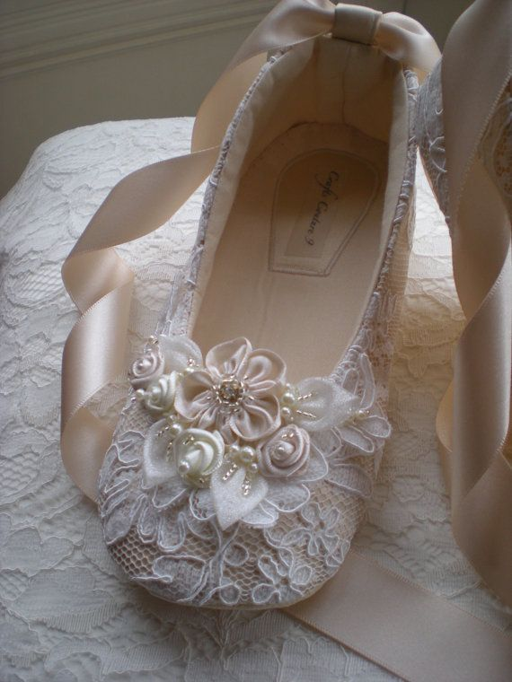 Off White Lace Girls Shoes Wedding Girl by CraftsCoutureByGemma