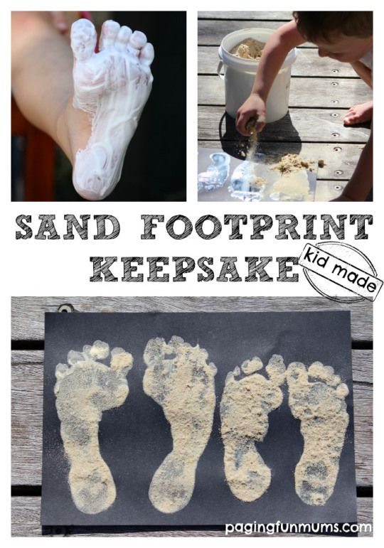 Easy Sand Footprint Keepsake! A simple and FUN way to record your children's footprints!
