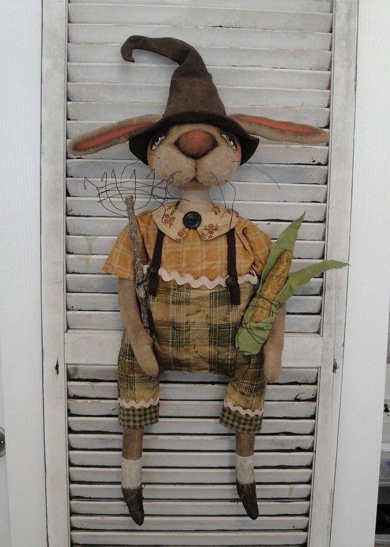 EPATTERN Primitive Folk Art Bunny Rabbit Halloween by brendasanker