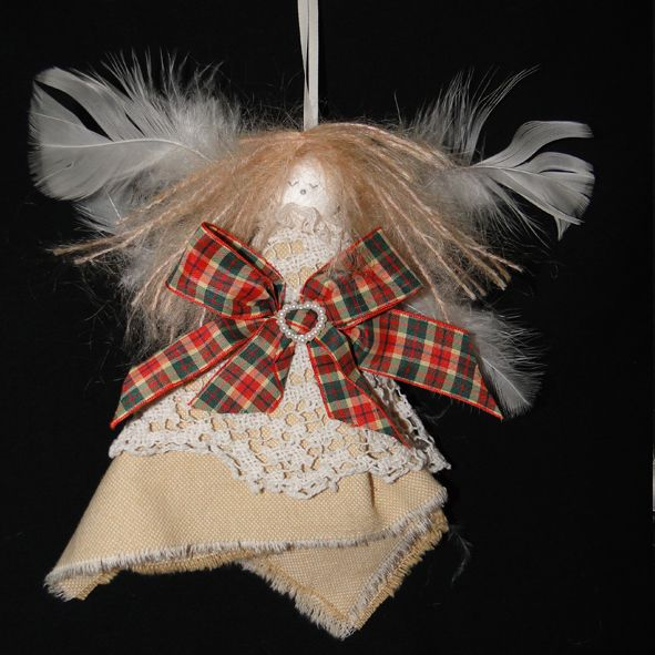 Shabby Chic Christmas Fairy - Tartan and Lace, Unique Christmas Gifts, Quality Greeting Cards, Luxury Christmas Decorations,Trendy Hand Knitted Accessories, Luxury British Made