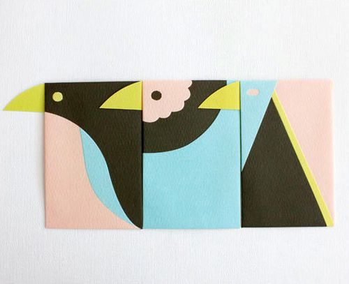 Clever Jiro bird envelopes by Japanese designer Tori Pochi–the yellow beak is the closing flap of the envelope.Love!    Available for $9 (set of 3) at upon a fold.