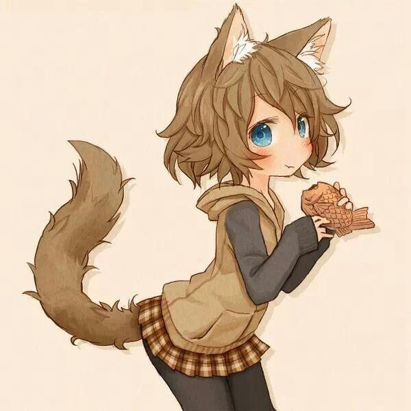 anime girl wolf & art
