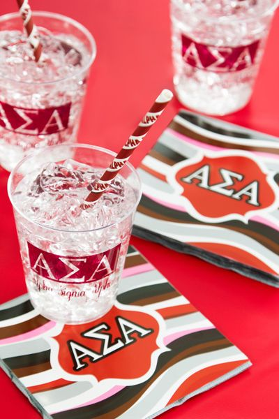 My Paper Shop.com - Alpha Sigma Alpha sorority party supplies are a trendy and economical choice for hosting sorority events and fundraisers. This Greek theme collection features the Alpha Sigma Alpha Greek letters and printed name on paper beverage napkins, plastic glasses and paper party straws. You can coordinate this ensemble with our solid colored white and classic red tableware supplies and decorations to complete your event setting. Our sorority party ensembles will add a personal ...