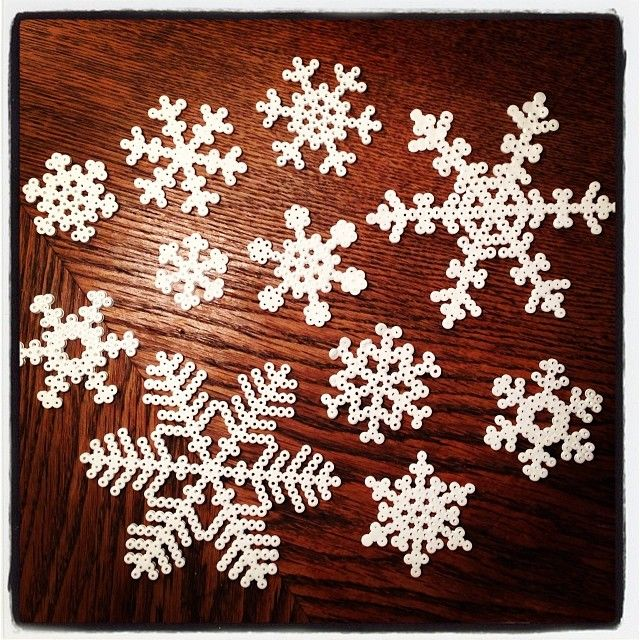 Snowflakes hama perler beads by mul73