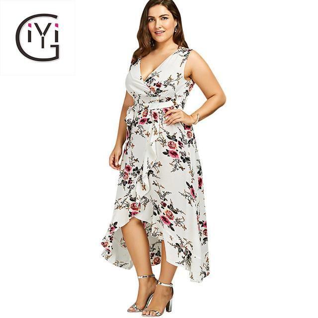 12f42ae3a66 GIYI Plus Size 5XL 4XL Floral Print Chiffon Beach Maxi Long Dress Summer Women  Clothes Sexy