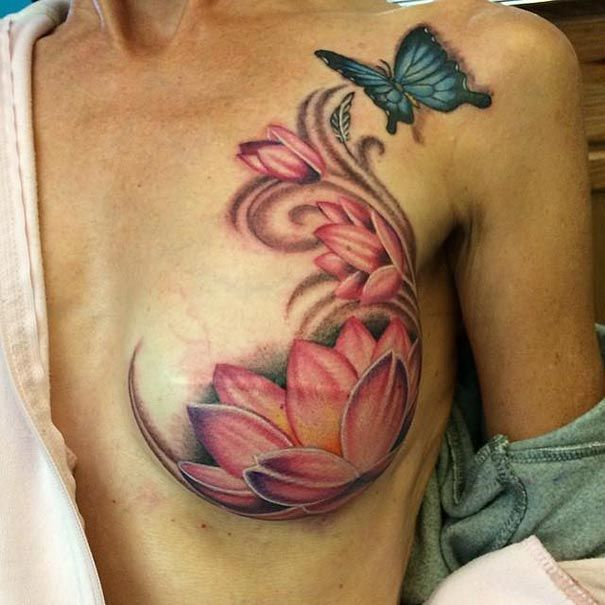 Tattoo Artists Cover Breast Cancer Survivors' Scars With Beautiful Tattoos | Bored Panda