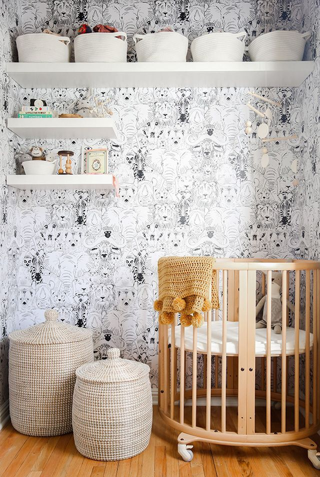closet turned into a nursery // sarah sherman samuel - wild thing wallpaper by chasing paper