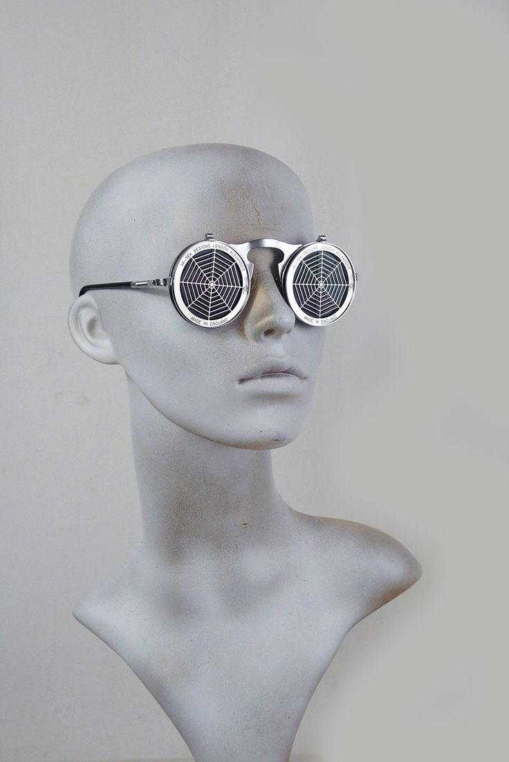 Round metal flip up sunglasses perforated stainless steel lens Spider Web