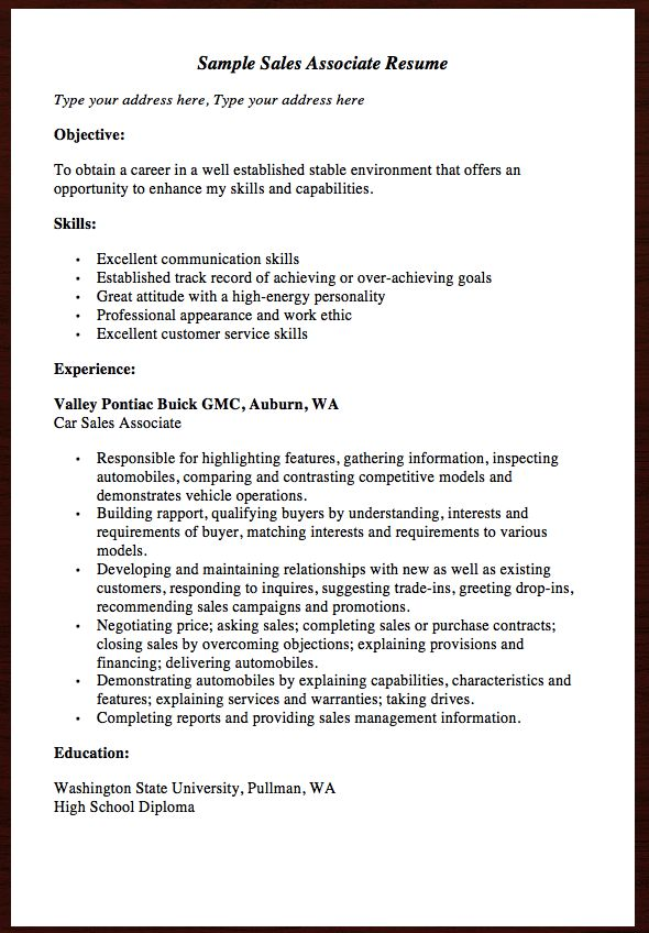 Here Comes anther free resume example of Sales Associate Resume - sales associate resume examples