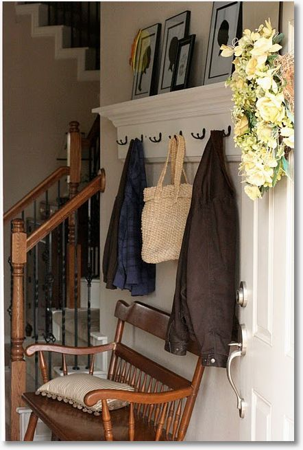Coat hook shelf with crown molding--for entry or mud room?  Link to plans.