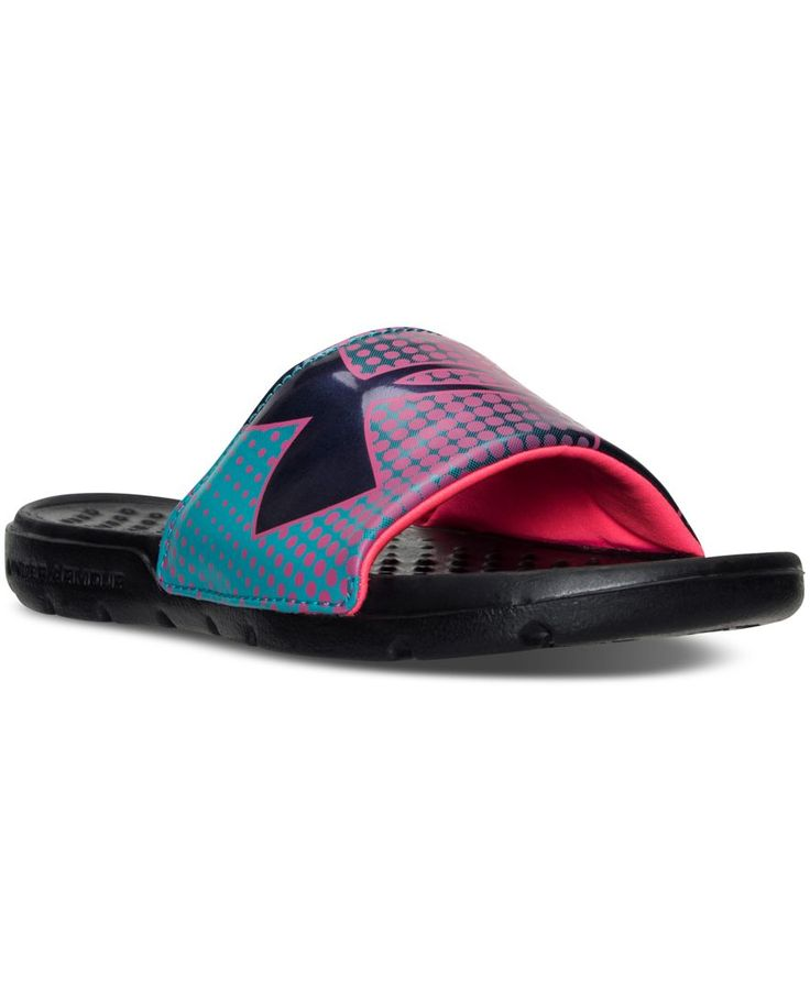 She'll be ready for a day at the beach in the uber comfortable Under Armour Girls' Strike Ombre Slide Sandals. A fixed band strap with plush foam lining plus a lightweight Eva sole add up to a serious