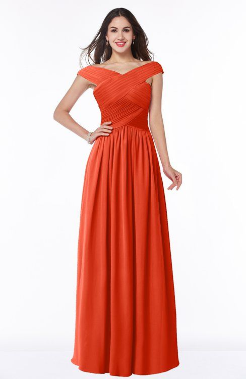 e8e95bdd06 ColsBM Wendy Persimmon Classic A-line Off-the-Shoulder Sleeveless Zip up  Floor