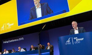'Empty leftism': Jeremy Corbyn at the Unite conference in Brighton last week.