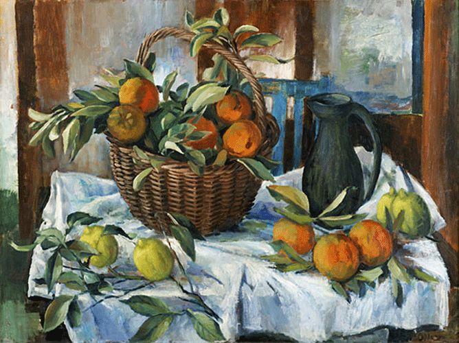 """Margaret Olley AC, AO  """"Basket of Oranges Lemons and Jug"""