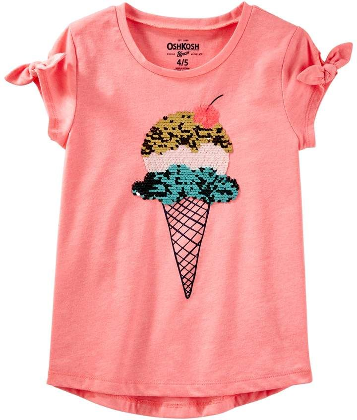 c1f6fb27 Osh Kosh Oshkosh Bgosh Girls 4-12 Ice Cream Cone Flip Sequin Graphic Tee
