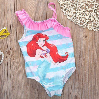 Girls Little Mermaid Swimsuit one piece bathing suit