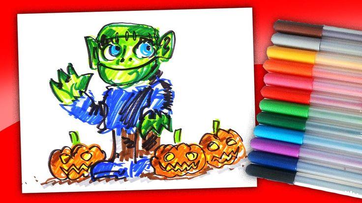 Доброе Чудовище Франкенштейна на Хэллоуин фломастерами / Рисунки на Хэлл...