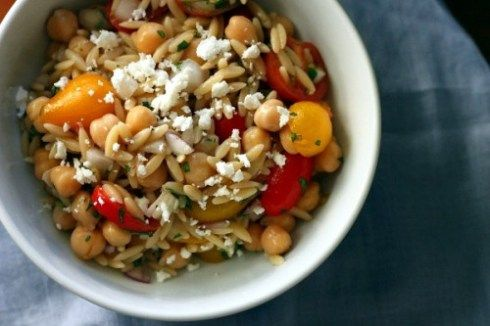 Orzo salad with chick peas and fresh basil/mint