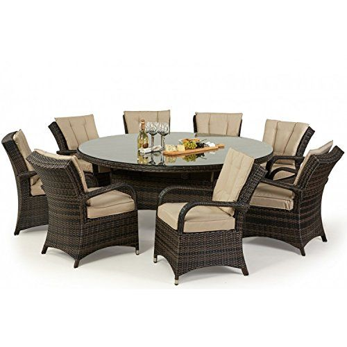 Tyler Rattan Garden Furniture Brown 8 Seater Round Table Set Part 75