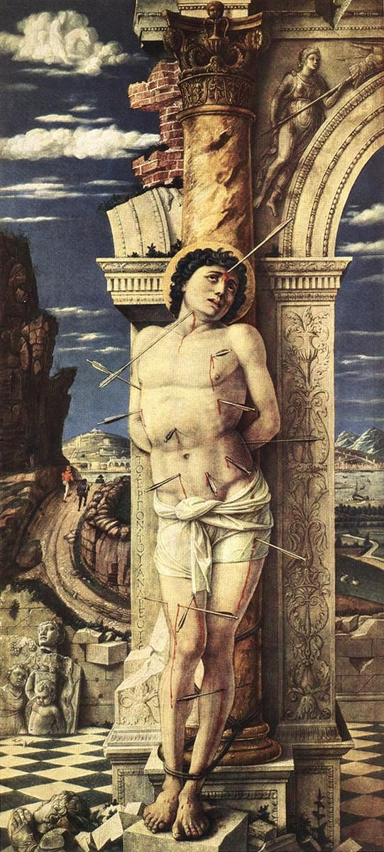 St Sebastian [Italian Early Renaissance Painter, ca.1431-1506] 1457-58 Wood, 68 x 30 cm Kunsthistorisches Museum, Vienna...Andrea MANTEGNA, can you imagined being martyred TWICED! convert people, then used as target practice. Left for dead. Nursed back to health. Get back in the ruler's face. be sentenced to be cudgeled to death and thrown in the common sewer ....