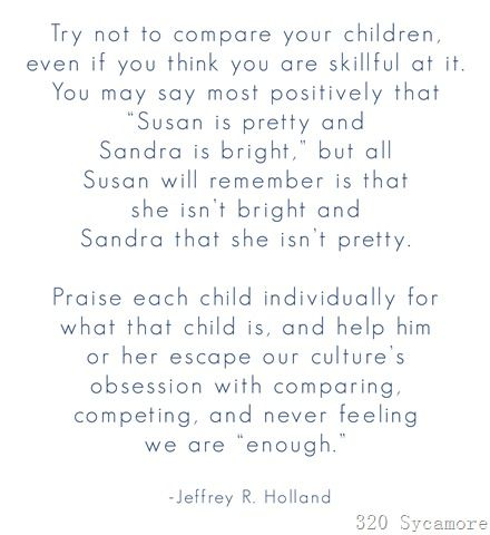 on comparing children...