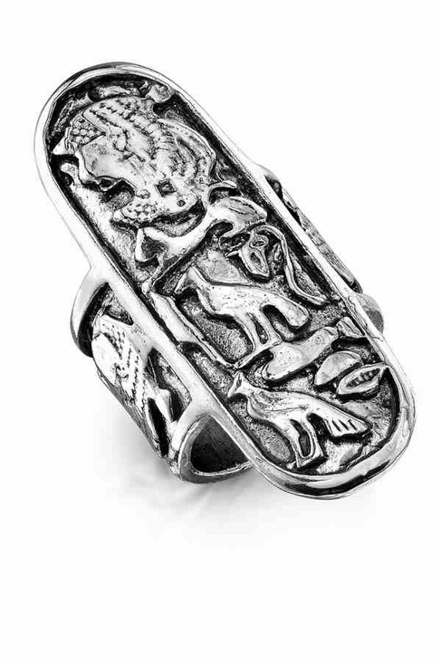 Low Luv by Erin Wasson Carved Aztec Ring in Silver
