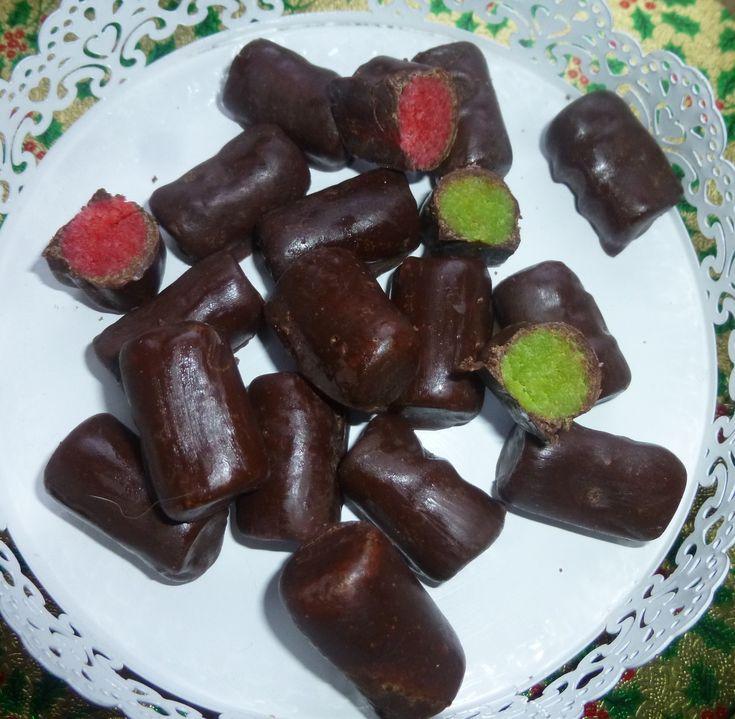 bûchettes pâte d'amandes,enrobage chocolat