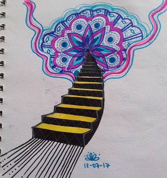 Escalera al cielo. Starway to heaven. #cielo #escalera #starway #heaven #flower #flor #draw #dibujos #instacolor #sketchbook #mandala #surreal #oniric #onirico