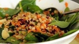 Spinach salad with smoked turkey and pistachios