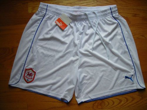 "CARDIFF CITY FC WHITE SHORTS (L) 36"" WAIST HOME WALES 2012/13 FOOTBALL SOCCER"