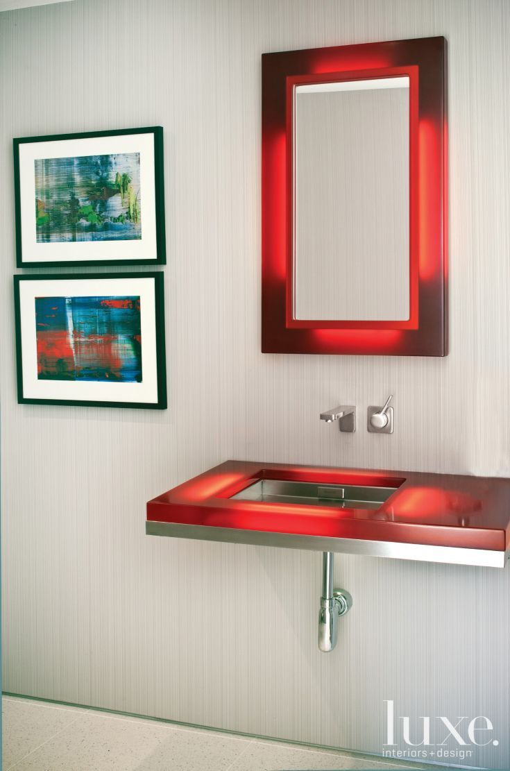 Contemporary neutral bathroom with red accents luxe for Red accent bathroom