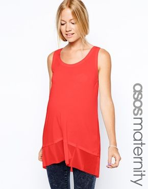 ASOS Maternity Tank With Sheer And Solid