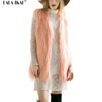 Uzun Lady Faux Kürk Yelek 2016 Uzun Saç Katı Bayan Yelekler Ceket Kış Moda Kolsuz Kürk Mantolar Colete Feminino SWQ0212-5