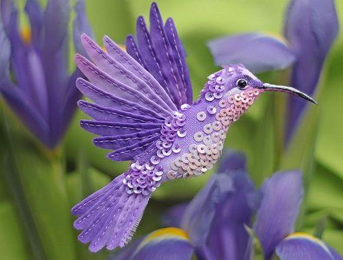 "Broche handmade miniatura ""Pássaro roxo '"