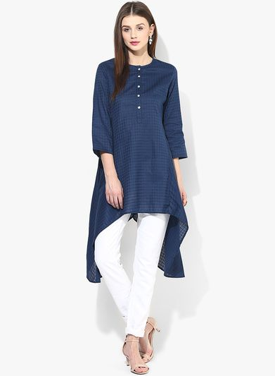 Buy Biba Navy Blue Checked Tunic for Women Online India, Best Prices, Reviews | BI021WA04FBFINDFAS
