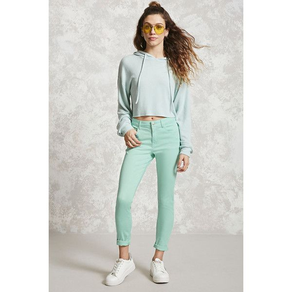 Forever21 Skinny Ankle Jeans ($20) ❤ liked on Polyvore featuring jeans, aqua, forever 21, zip jeans, zipper skinny jeans, aqua jeans and 5 pocket jeans