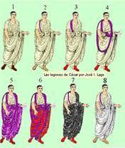 PALMATA. En los trajes del cónsul romano del Bajo Imperio, era una toga bordada y decorada con clavus en púrpura.
