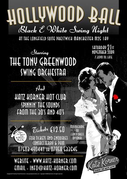 Black white ball event poster