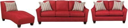 Hannin Collection 95801SLCL 3-Piece Living Room Set with Sofa Loveseat and Chaise Lounge in Spice