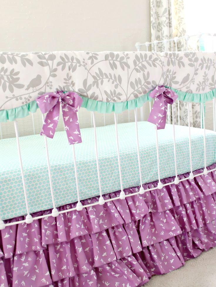Purple Birdie mint, gray, and purple crib bedding | Lottie Da Baby