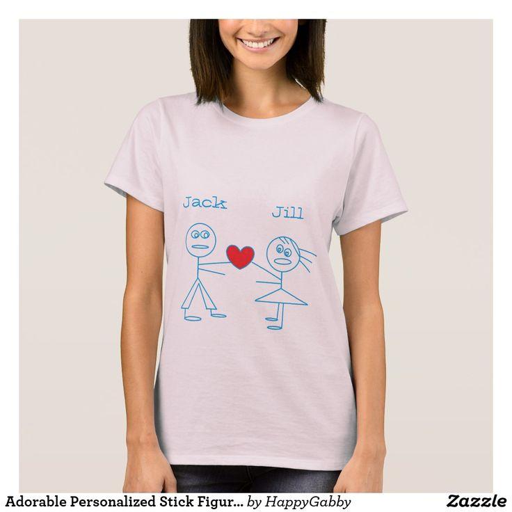 Adorable Personalized Stick Figure Couple T-Shirt